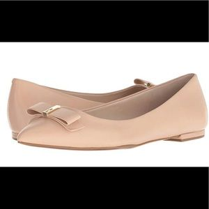 Cole Haan Leather Nude Elsie Bow Skimmer Flats